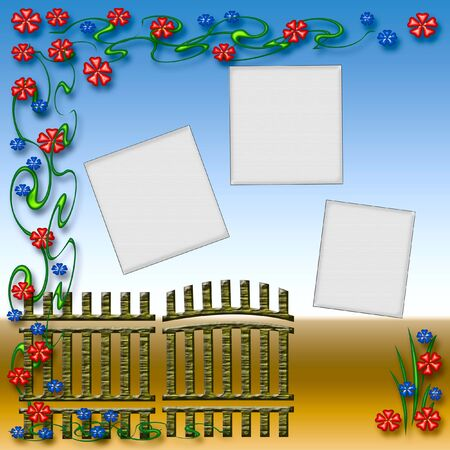 homely: garden gate and colorful flowers scrapbook page illustration