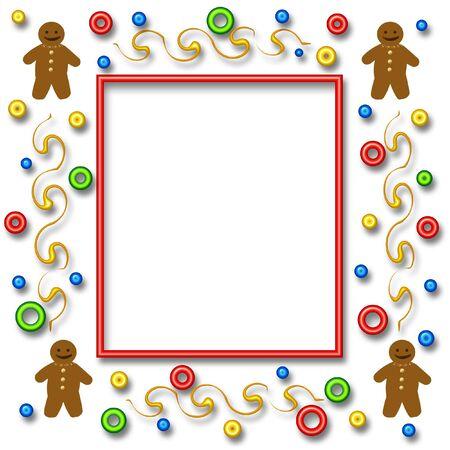 smiling gingerbread man scrapbook photo page illustration  Imagens