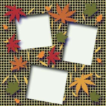 cutouts: autumn leaves scrapbook  frame  photo cutouts illustrated Stock Photo