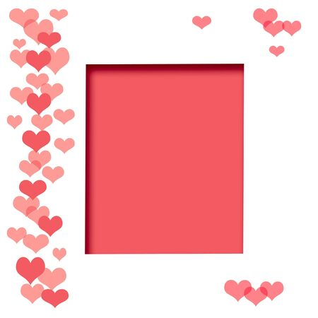 illustrated: hearts on white background illustrated scrapbook page