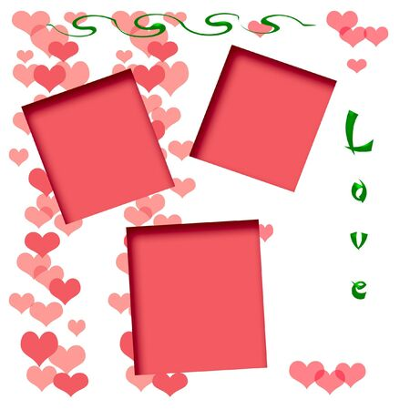 hearts on white background illustrated scrapbook page photo