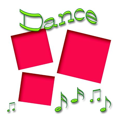 dance scrapbook frame music notes on white background