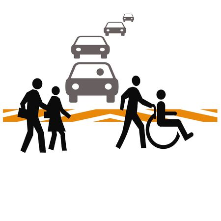 pedestrians crossing a busy street illustration white background