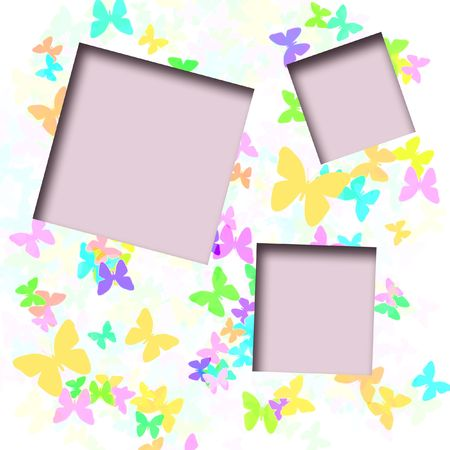 カラフルな蝶の白い背景のスクラップ ブックのフレーム上に散在