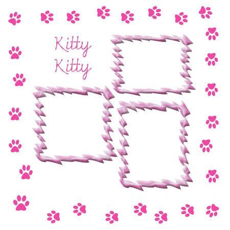for print: paw print scrapbook frame for cat pink and white