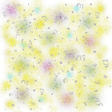 pastel fuzz and confetti on white background baby gift wrap