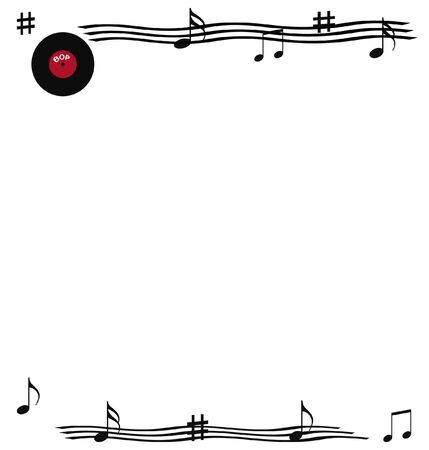 phonograph record and musical notes rock and roll scrapbook page