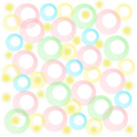 pastel fuzzy circles on white background baby gift wrap