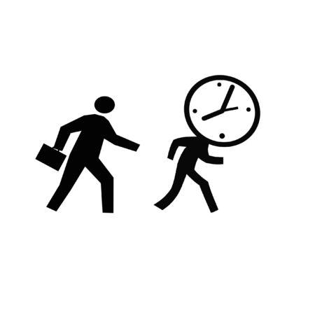 busy businessman chasing a running clock illustration Фото со стока
