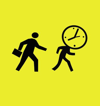 appointments: busy businessman chasing a running clock illustration Stock Photo