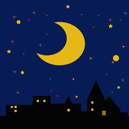 stars: moon and stars in dark night sky over town  illustration