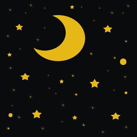 달과 어두운 밤 하늘 그림에서 별 스톡 콘텐츠