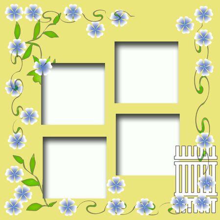 flores color pastel: pastel, flores y la primavera de vides marco alrededor de la foto cortes
