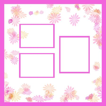 cutouts: spring pastel flowers and vines frame around  photo cutouts