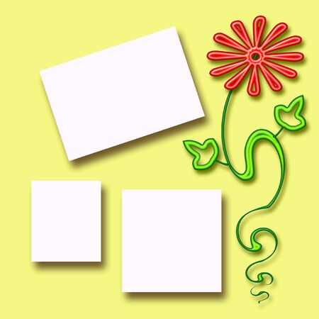 homely:  colorful flower scrapbook page and photo cutouts on yellow  illustration