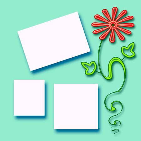 cutouts:  colorful flower scrapbook page and photo cutouts on blue illustration