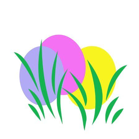 geverfde paaseieren verborgen in de afbeelding gras