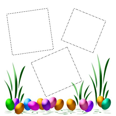 dyed Easter eggs scrapbook page assorted colors illustration Stok Fotoğraf - 4488458