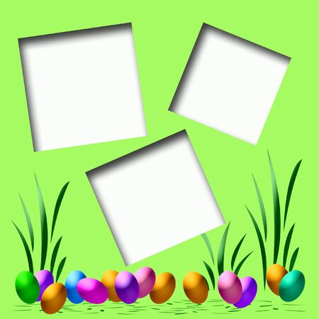 dyed Easter eggs scrapbook page assorted colors illustration
