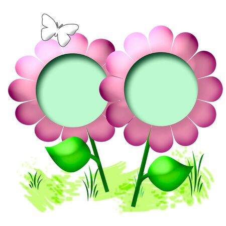 pink 3d  flower and green leaves scrapbook page illustration Stock Photo