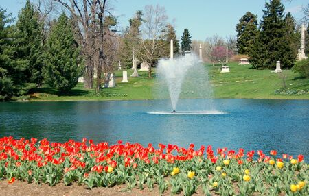 cemetery in spring with red tulips and fountain Stock Photo