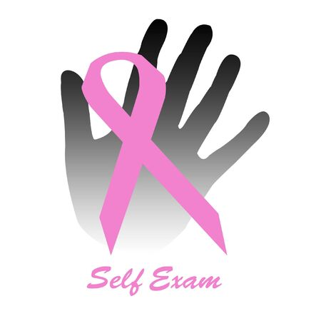 cancer awareness self exam pink ribbon and gray hand