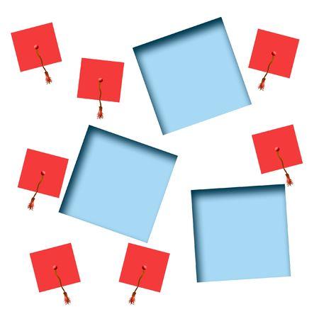 赤い帽子ゴールド タッセル各種モルタル板卒業スクラップ ブックのフレーム 写真素材