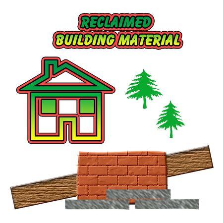 material: reclaim used building material bricks wood stone illustration on white Stock Photo