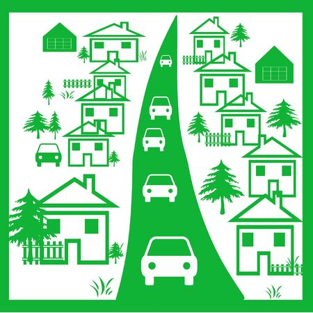 illustrated: all green town illustrated on white background Stock Photo