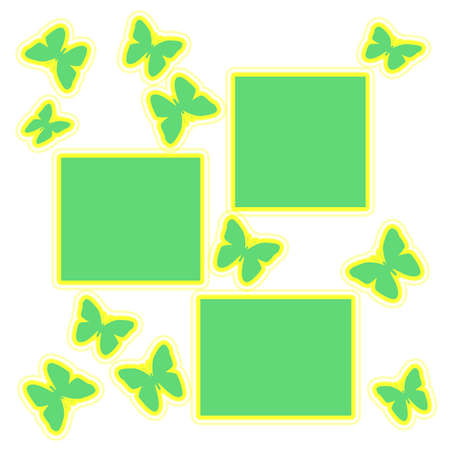 green and yellow butterflies on white background