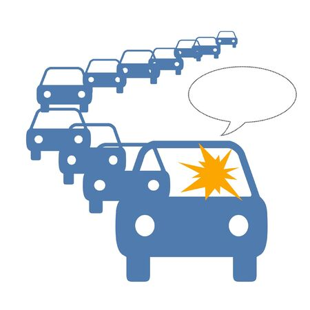 driver frustration in long line of traffic illustration Фото со стока