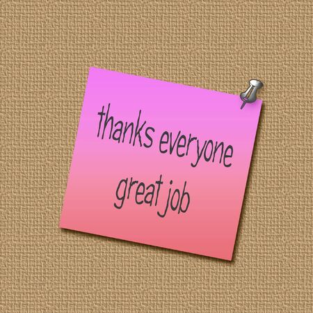 tack: pink thank you note on textured bulletin board