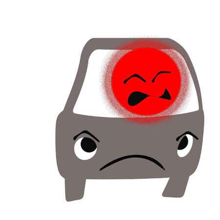 road rage driver frustration red face illustration