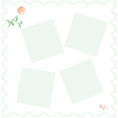 pink rose on white background scrapbook page