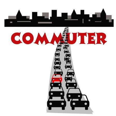 city traffic jam after work commute illustration illustration