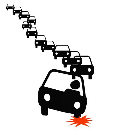 commuter with flat tire in traffic illustration Stok Fotoğraf - 5112936