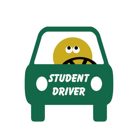 novice: frightened student driver behind the wheel illustration