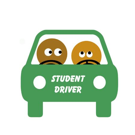 student driver and instructor behind the wheel illustration
