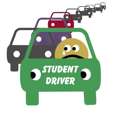 ordeal: frightened student driver in heavy traffic illustration