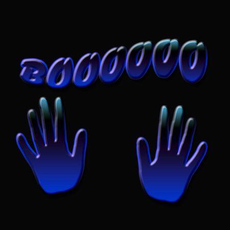 grasp: spooky blue hands on black background illustration