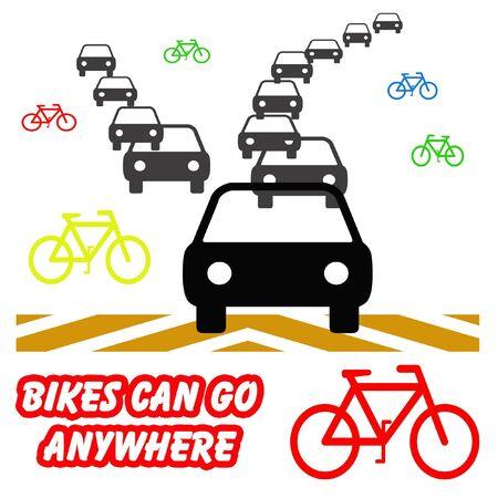 다채로운 자전거 및 흰색 배경 그림에서 회색 자동차 스톡 콘텐츠