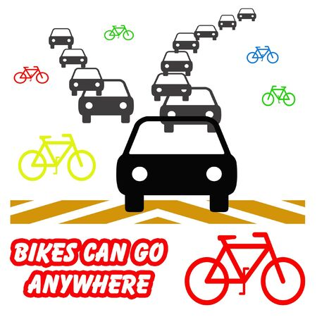 autos: colorful bikes and gray autos on white background illustration