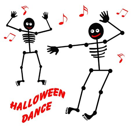 halloween party: friendly dancing skeleton for Halloween  black and white