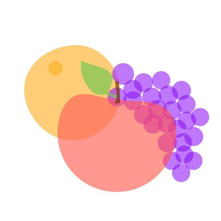 ondoorzichtige vruchtenmengsels abstracte illustratie oranje appel en druiven Stockfoto