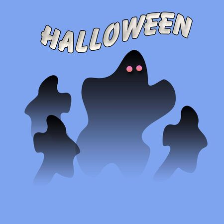 spooky Halloween ghost opaque on blue background illustration Фото со стока