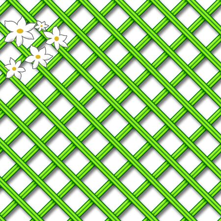 green lattice design scrapbook page with white daisies illustration