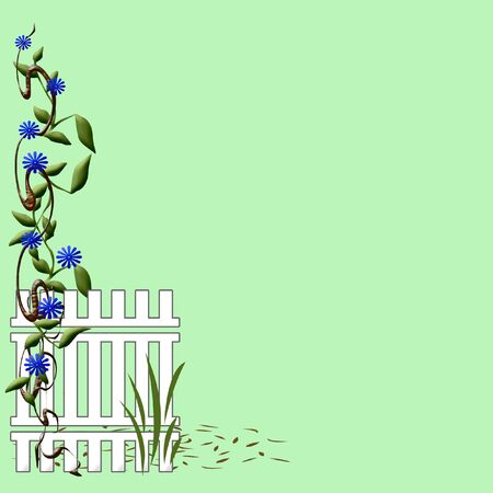 woody: woody vines and blue flowers on garden fence illustration