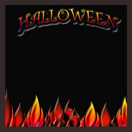 halloween background: Halloween poster red and orange flames on black background illustration Stock Photo
