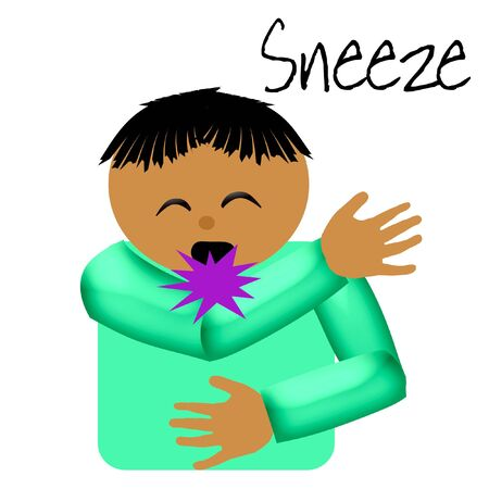 sneeze: sneeze catcher elbow poster illustration on solid background Stock Photo