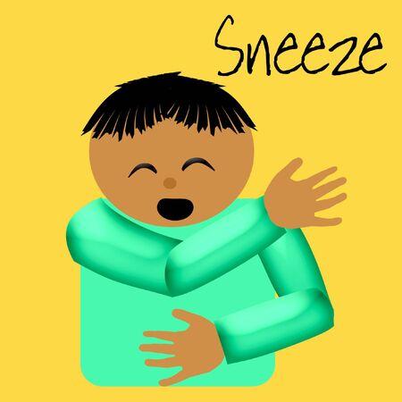 sneeze catcher elbow poster illustration on solid background Stock Illustration - 5295048